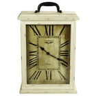 55CM Shabby Chic Antique Cream Wooden Table Clock with Handle
