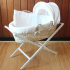 Baby Moses Basket Bassinet with White Wooden Folding Stand and Waffle White Bedding Set