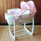 Baby Moses Basket Bassinet with White Wooden Side to Side Rocking Stand and Rabbit Pink Bedding Set