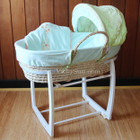 Baby Moses Basket Bassinet with White Wooden Side to Side Rocking Stand and Giraffe Blue Bedding Set