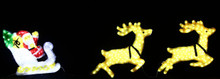 LED Acrylic Santa on 2 Reindeer Sleigh Christmas Lights