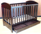 3 in 1 Walnut Wooden Columbia Cot Sofa Toddler Bed with Drawer and Mattress