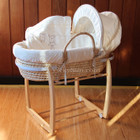 Baby Moses Basket Bassinet with Natural Wooden Side to Side Rocking Stand and Clothesline Bear Bedding Set
