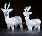 37CM 3D 2 Set Acrylic Baby Reindeers with 64 White LED Christmas Lights
