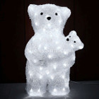 44CM 3D Acrylic Bear Mom and Cub with 80 White LED Christmas Lights