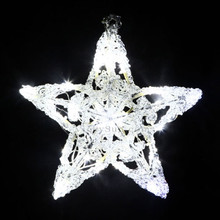 25CM 3D Acrylic Star with 24 White LED Christmas Lights