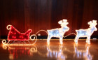 Sleigh And Reindeers Christmas Motif Rope Lights with PVC Grass