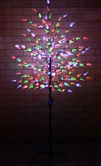 Vickysuncom 180cm 240 Led Multi Colours Tree Lights With Leaves