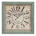 60CM Shabby Chic OLD TOWN Square Wooden Wall Clock in Green