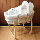 Baby Moses Basket Bassinet with Natural Wooden Side to Side Rocking Stand and Cappuccino Bear Bedding Set