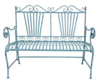 French Country Garden Bench Wrought Iron Light Blue