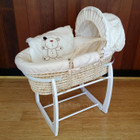 Baby Moses Basket Bassinet with White Wooden Side to Side Rocking Stand and Cappuccino Bear Bedding Set