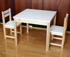 White and Natural Wooden Kids Table and 2 Chair Set Children Furniture Set