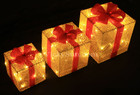 Set of 3 3D Christmas Golden Glistening Fabric Gift Box 72 LED Lights