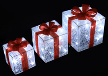 Set of 3 3D Christmas Silver Glistening Fabric Gift Box 72 LED Lights