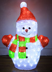 53CM 3D Acrylic Snowman with Red Hat with 100 LED White Christmas Lights