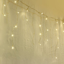 8.5M 300 LED Solar Warm White Christmas Icicle Lights with 8 Functions (Green Wire)