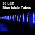11.6M 30 LED Blue Icicle Tube Christmas Lights & Snowing Function