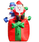 1.6M Inflatable Air Blown Rotating Santa Snowman with Lights for Christmas