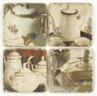 Set 4 French Country Shabby Chic Marble Teaset Coasters
