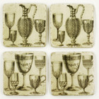 Set 4 French Country Shabby Chic Marble Pitcher/Cups Coasters