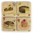 Set 4 French Country Shabby Chic Marble Cake Coasters