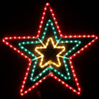 Animated 70CM Flashing Red Green Yellow Star Christmas Motif Rope Lights
