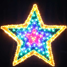 Animated 102CM LED Flashing Red Blue Green Yellow Star Christmas Motif Rope Lights
