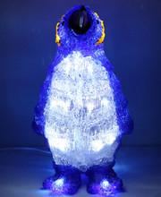 33CM 3D Acrylic Penguin Baby with 24L White LED Christmas Lights