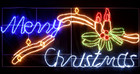 Animated 230CM Wide LED &#039;Merry Christmas&#039; Sign with Candles Motif Rope Lights