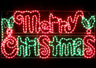 Animated 104CM LED 'Merry Christmas' Sign with Holly Leaves Motif Rope Lights