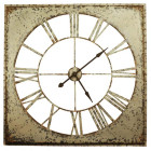 110CM French Country Large Rustic White Iron Clock with Black Hands