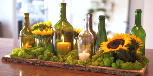 9 easy diy wine bottle centerpieces for How to cut the bottom off a wine bottle easily