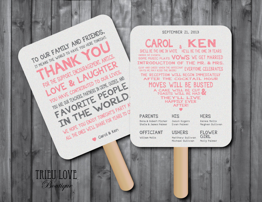 fan wedding program examples - Picture Ideas References
