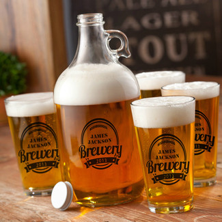 Black - Personalized Brewery Growler Set