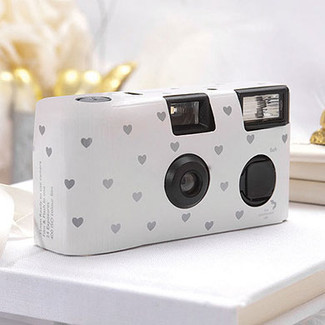 White Disposable Cameras - Silver Hearts Design