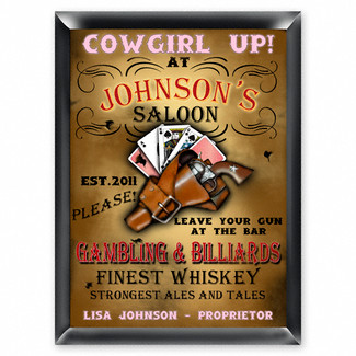 Personalized Cowgirl Saloon Pub Sign