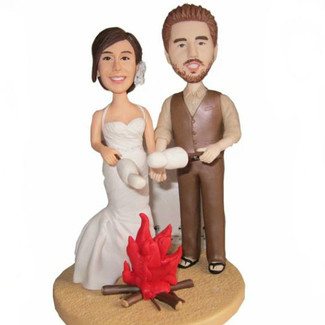 Camping Couple Wedding Cake Topper
