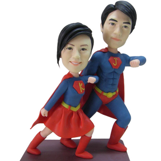 Superhero Couple Wedding Cake Topper