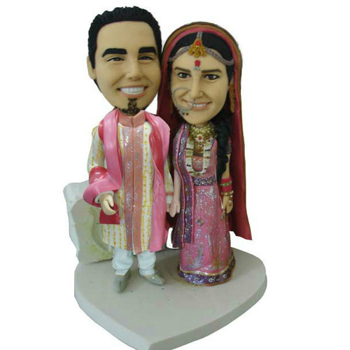 Indian Couple Wedding Cake Topper