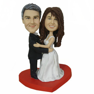 On A Heart Wedding Cake Topper