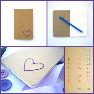 Embroidered Heart Pocket Journal