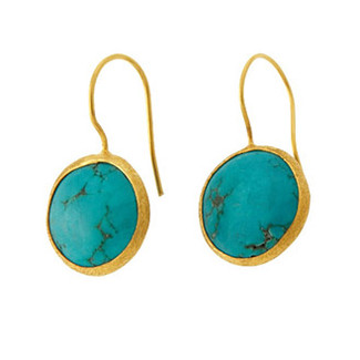 Antika Single Stone Earrings- Turquoise
