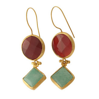 Antika Double Stone Earrings - Red Agate and Aventurine