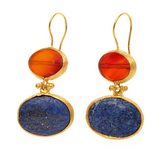 Antika Earrings Double Stone - Red and Blue Ovals