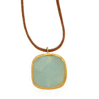 Antika Stone Leather Necklace - Light Aquamarine