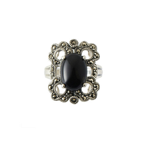 Black Onyx and Marcasite Clover Ring