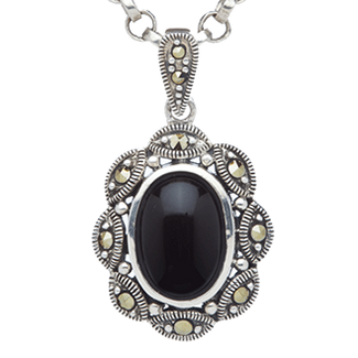 Black Onyx and Marcasite Pendants - Oval