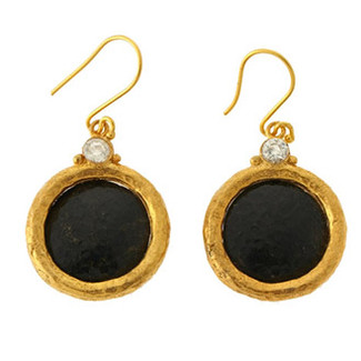Brass Black Stone and Clear Crystal Earrings