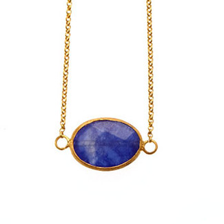 Brass Single Stone Necklace (horizontal) - Blue Quartz